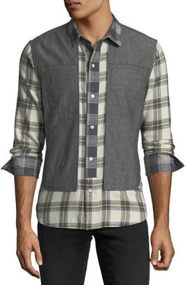 Mostly Heard Rarely Seen Plaid Shirt with Vest Overlay