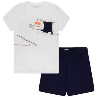 Il Gufo Il GufoBoys White Crocodile Top & Navy Shorts Set