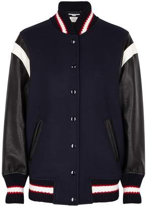 Stella McCartney Appliqued Wool-panelled Bomber Jacket