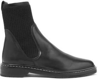 The Row Fara Ribbed Cashmere-paneled Leather Chelsea Boots - Black