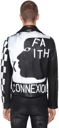 Faith Connexion Painted Leather Biker Jacket