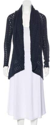 Cotton by Cashmere Sheer Knit Open-Front Cardigan