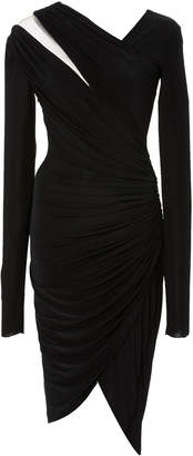 Pamella Roland Jersey Long Sleeve Draped Dress