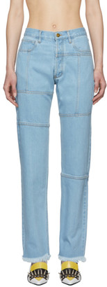 Marques Almeida Blue Panelled Jeans