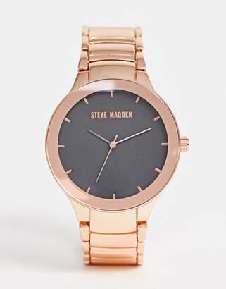Steve Madden (スティーブ マデン) - Steve Madden mens rose gold bracelet watch with black dial