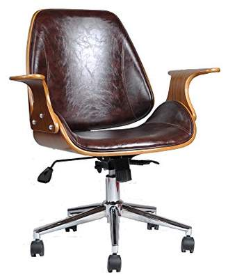 Camilla And Marc ASPECT Chelsea Padded Office Chair, Wood, Brown, 73 x 61 x 88 cm