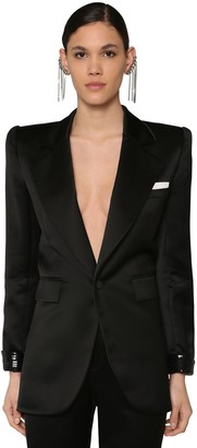Saint Laurent VISCOSE SATIN BLAZER W/SEQUINS
