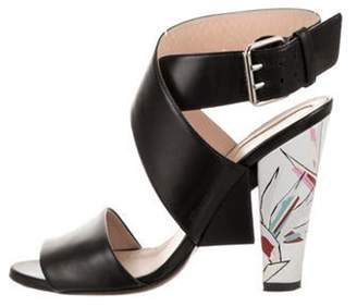 Fendi Leather Crossover Sandals Black Leather Crossover Sandals