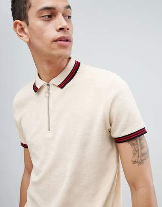 Asos Design DESIGN polo shirt in towelling with zip neck and contrast tipping