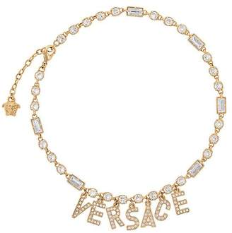 Versace crystal logo pendant necklace