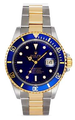 Rolex Pre-Owned Stainless Steel and 18K Yellow Gold Two Tone Submariner Watch with Blue Dial, 40mm