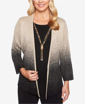 Alfred Dunner Petite Shining Moments Ombre Shimmer Cardigan & Necklace