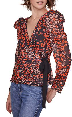ASTR the Label Lissa Print Puff Sleeve Wrap Blouse