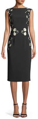 Lela Rose Sleeveless Boat-Neck Floral-Embroidered Sheath Dress