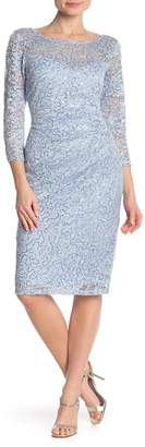 Marina Sequin 3/4 Sleeve Dress