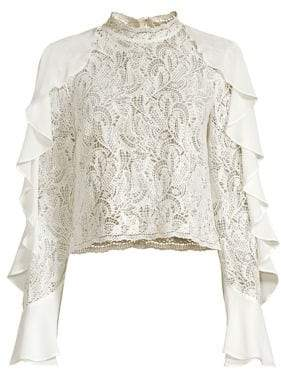 Alice + Olivia AMUR Ilana Crop Ruffle& Lace Top