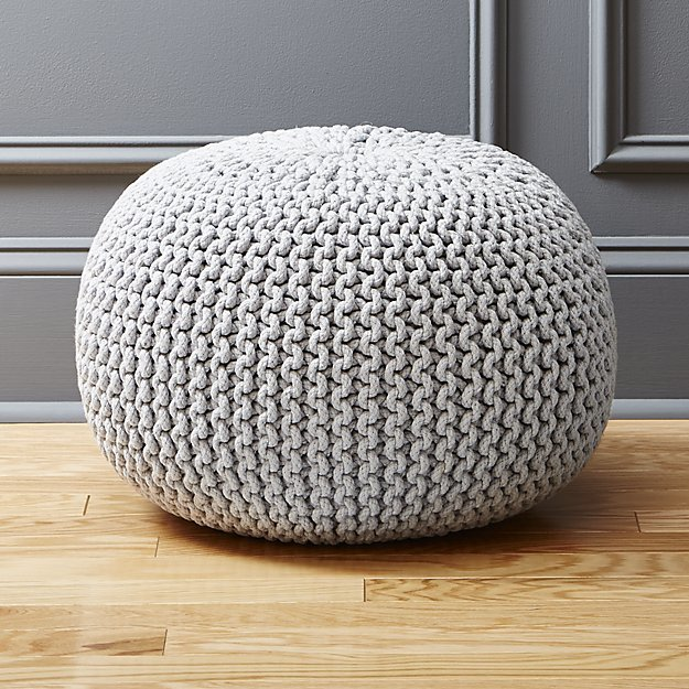 CB2Knitted Silver Grey Pouf