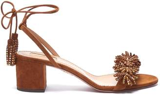 Aquazzura 'Wild Crystal' strass fringe tassel tie leather sandals