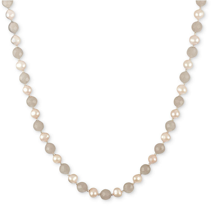 Sterling Silver Necklace, Pink Cultured Freshwater Pearl and Rose Quartz (102-1/3 ct. t.w.) Strand Necklace