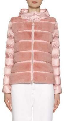 Moncler Riga Fur-Panel Puffer Jacket