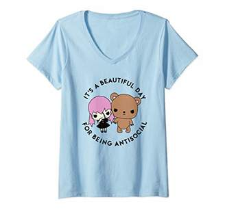 Womens Introvert Attire It is a Beautiful Day for Being Antisocial V-Neck T-Shirt