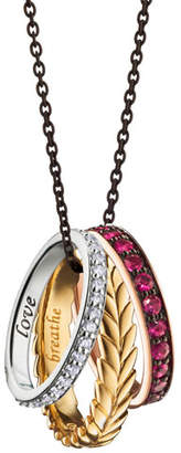 "Monica Rich Kosann 18K Yellow, Rose and White Gold ""Thankful"" Poesy Ring Necklace"