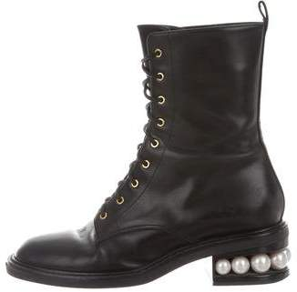 Nicholas Kirkwood Leather Faux-Pearl Embellished Boots