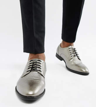 Asos Design DESIGN Wide Fit lace up dress shoes in silver faux leather