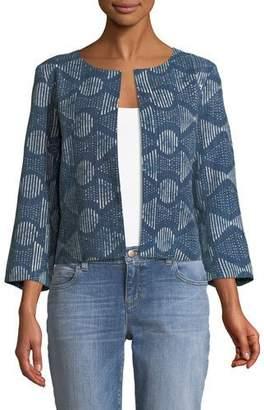 Eileen Fisher 3/4-Sleeve Hand-Printed Jacket