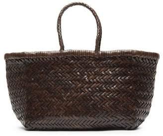 Dragon Optical Diffusion Bamboo Triple Jump Small Woven Leather Tote Bag