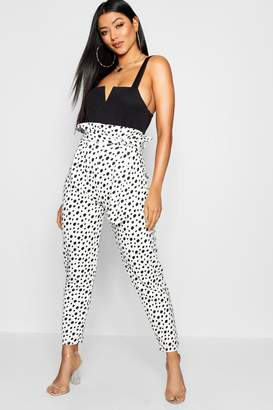boohoo Dalmatian Spot Paperbag Waist Trouser