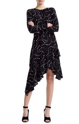 Maje Retoile Star Print Asymmetrical Long Sleeve Dress