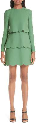Valentino Wool & Silk Tiered Scallop Dress