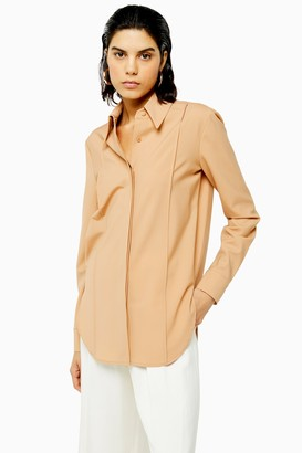 Topshop Womens **Wool Blend Nude Tailored Shirt By Nude
