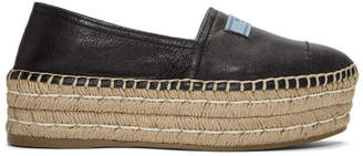 Prada Black Leather Double Platform Espadrilles