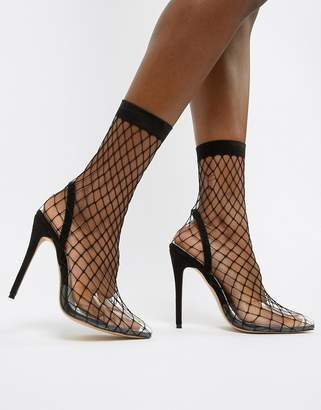 Public Desire Wink black fishnet heeled shoes