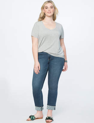 Pearl Embellished Cuff Jean