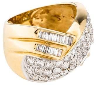 Ring 18K Diamond Criss Cross
