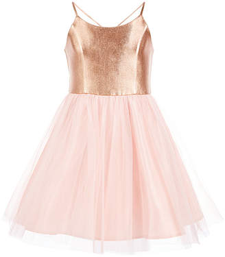 Pink & Violet Big Girls Metallic Ballerina Party Dress