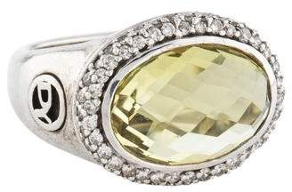 David Yurman Lemon Quartz & Diamond Oval Ring