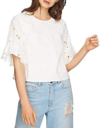 1 STATE 1.STATE Embroidered Ruffle-Sleeve Top