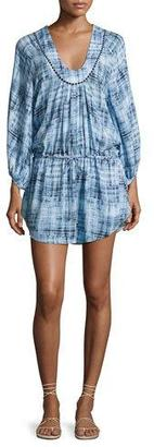 Vix Rustic Lara Swim Coverup Caftan Dress, Blue $188 thestylecure.com
