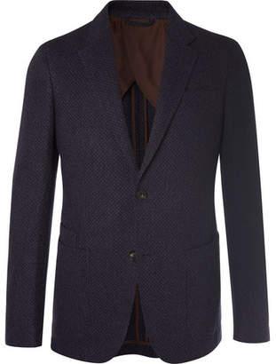 Ermenegildo Zegna Navy Milano Mélange Wool And Cashmere-Blend Blazer