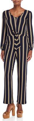Derek Heart Striped Tie-Front Jumpsuit