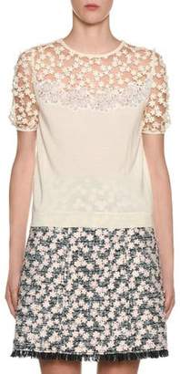 Giambattista Valli Puff-Sleeve Daisy-Lace Illusion Sweater