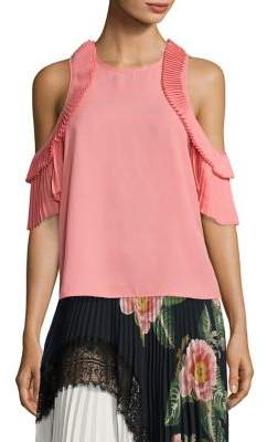 Everly Delfi Collective Pleated Cold-Shoulder Top