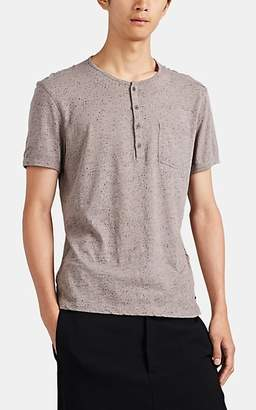 John Varvatos Men's Speckle-Print Slub-Cotton Henley - Gray