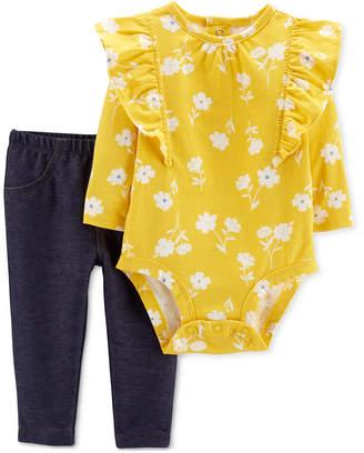 Carter's Carter Baby Girls 2-Pc. Floral-Print Cotton Bodysuit & Leggings Set