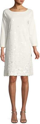 Joan Vass Sequined-Front 3/4-Sleeve Dress