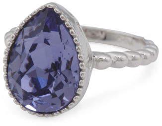 Sterling Silver Swarovski Crystal Tanzanite Teardrop Ring